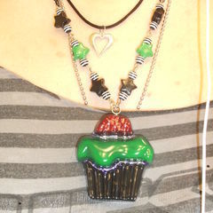 Zombie Inspired Resin Cupcake Necklace
