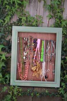 Woo .  Make a jewelry frame in under 120 minutes by constructing with paint, glue gun, and frame. Creation posted by Mikaela. Difficulty: 3/5. Cost: Cheap.
