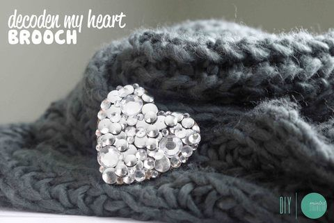 Studded Crystal Heart Brooch .  Free tutorial with pictures on how to embellish a bejewelled brooch in under 120 minutes by embellishing and not sewing with scissors, glue gun, and rhinestones. Inspired by gifts, kawaii, and kingdom hearts. How To posted by bunnytan. Difficulty: 3/5. Cost: Cheap. Steps: 9