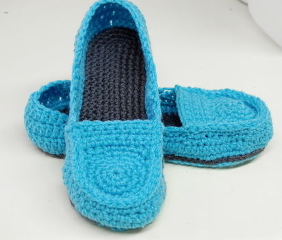 Women's Loafer Slippers - So comfortable! .  Stitch a pair of knit or crochet slippers in under 120 minutes by needleworking and crocheting with crochet hook, red heart yarn, and red heart yarn. Inspired by crafts. Creation posted by whistleandivy. Difficulty: Simple. Cost: Cheap.