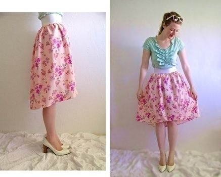 How to make a trendy high low skirt with subtle length variation. .  Free tutorial with pictures on how to sew a gathered skirt in under 50 minutes by dressmaking and machine sewing with fabric. How To posted by Disney P. Difficulty: Easy. Cost: Cheap. Steps: 8