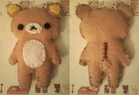 The result of my first attempt at sewing. (´・ ω ・`) .  Make a bear plushie in under 120 minutes by drawing, embroidering, and sewing with felt, thread, and needle. Inspired by kawaii, rilakkuma, and rilakkuma. Creation posted by zombibi. Difficulty: Simple. Cost: Absolutley free.