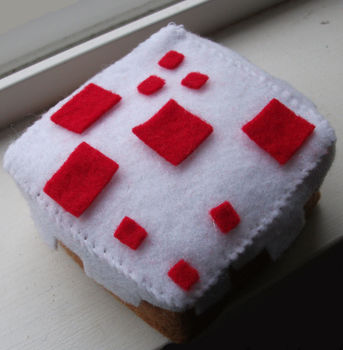 Yum! I Would Love 8-bitE! .  Make a shape plushie in under 60 minutes by sewing with felt, needle & thread, and polyester stuffing. Inspired by computer games, costumes & cosplay, and cubes. Creation posted by  Evelyn Vermilion. Difficulty: Simple. Cost: Cheap.