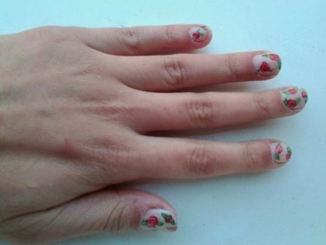 .  Paint patterned nail art in under 20 minutes by nail painting and nail painting Inspired by vintage & retro, flowers, and floral. Version posted by Andreea S. Difficulty: Simple. Cost: Cheap.