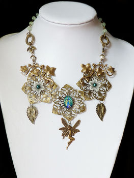 Bronze fairytale nature necklace .  Make a metal necklace in under 120 minutes by beading and jewelrymaking with metal finding. Inspired by gothic, steampunk, and vintage & retro. Creation posted by xNatje. Difficulty: Simple. Cost: 3/5.