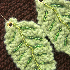 Knitted Leaf Earrings