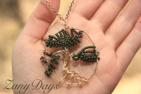 A small piece of Zen to carry with you! .  Make a wire pendant in under 35 minutes using beads and wire. Inspired by trees. Creation posted by ZanyDays. Difficulty: Easy. Cost: No cost.