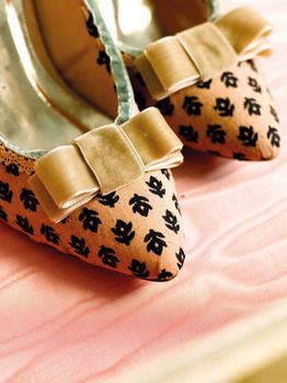 Girls' Night in .  Free tutorial with pictures on how to make a pair of fabric covered shoes in under 60 minutes by decorating with fabric, scissors, and paper. How To posted by Quadrille. Difficulty: Simple. Cost: Cheap. Steps: 7