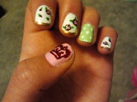Tea Party Ready! .  Paint patterned nail art in under 30 minutes by nail painting and nail painting with nail polish, nail polish remover, and eyeliner brush . Inspired by vintage & retro, flowers, and tea cup. Creation posted by k k. Difficulty: 3/5. Cost: Cheap.