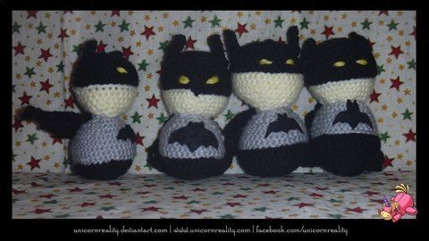Na na na na na na na na BATMEN .  Make a food plushie in under 20 minutes by crocheting and amigurumi with wool and polyester stuffing. Inspired by batman, domo kun, and domo kun. Creation posted by Unicorn Reality. Difficulty: Easy. Cost: Absolutley free.
