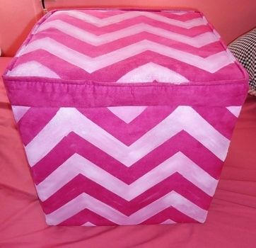 I updated an old ottoman so I would feel like using it. .  Free tutorial with pictures on how to make a stool in under 120 minutes by decorating, stencilling, and not sewing with fabric paint, masking tape, and stencil. Inspired by gifts, halloween, and valentine's day. How To posted by Rachel's Craft Channel. Difficulty: Simple. Cost: Cheap. Steps: 2