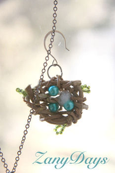 Spring time jewelry! .  Free tutorial with pictures on how to make a wire necklace in under 180 minutes by beading, jewelrymaking, and wireworking with pearls, polyfill, and fishing line. Inspired by birds, bird nests, and bird nests. How To posted by ZanyDays. Difficulty: Easy. Cost: No cost. Steps: 5