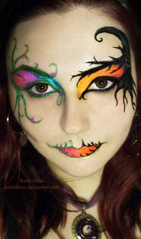 Fun Halloween Makeup!  .  Free tutorial with pictures on how to create a face painting in under 60 minutes by applying makeup, applying makeup, and applying makeup with liquid eyeliner. Inspired by fairies, fairies, and costumes & cosplay. How To posted by KatieAlves. Difficulty: 4/5. Cost: Cheap. Steps: 1