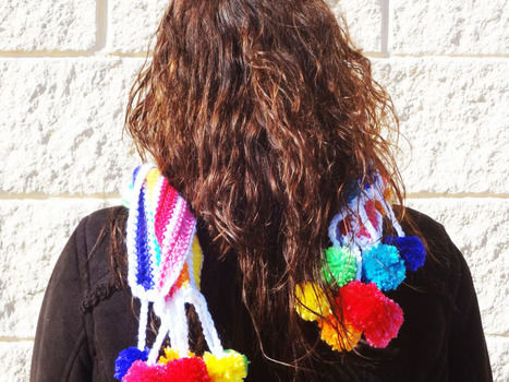 7 Colors of the Rainbow in very Bright Vibrant Rainbow Scarf .  Make a novelty scarf by crocheting with crochet yarn. Inspired by gifts, vintage & retro, and flowers. Creation posted by Fashion Diva Crochet.  in the Needlework section Difficulty: 3/5. Cost: 3/5.
