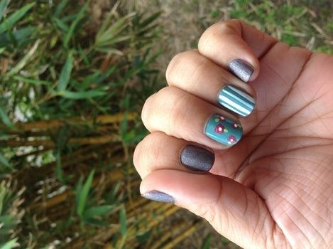 .  Paint patterned nail art in under 20 minutes by nail painting and nail painting Inspired by vintage & retro, people, and flowers. Version posted by MauiMami. Difficulty: Simple. Cost: Absolutley free.