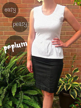 Transform a large tee into a chic peplum top .  Free tutorial with pictures on how to make a peplum top in under 30 minutes by sewing and dressmaking with sewing machine and t shirt. How To posted by Kaitlin H. Difficulty: Simple. Cost: Cheap. Steps: 6