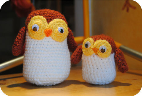 For all those owl lovers <3 .  Make a bird plushie by needleworking, yarncrafting, crocheting, and amigurumi with crochet hook, wiggly eyes, and cotton wool. Inspired by gifts and owls. Creation posted by Saskia F.  in the Needlework section Difficulty: 3/5. Cost: Cheap.
