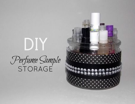 A great way to store your perfume samples .  Free tutorial with pictures on how to make a drawer organizer in 1 step by applying makeup with rhinestones, scrapbook paper, and jar. How To posted by Alternativelychiic.  in the Decorating section Difficulty: Easy. Cost: Cheap.