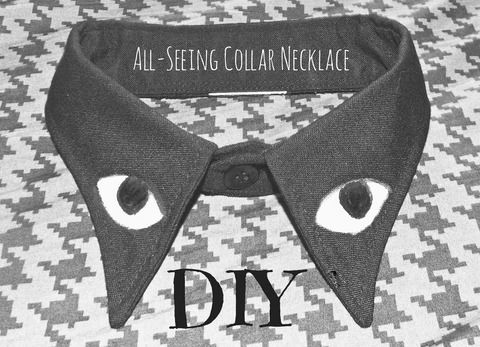 A cool, yet creepy collar necklace .  Make a shirt collar using fabric paint and shirt. Inspired by clothes & accessories. Creation posted by Alternativelychiic.  in the Home + DIY section Difficulty: Simple. Cost: Cheap.