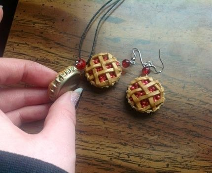 .Mmmm Pie. .  Make a pair of clay earring in under 120 minutes by decorating, jewelrymaking, molding, and  with polymer clay, earring hooks, and glass beads. Inspired by kawaii, cherries, and food. Creation posted by DarkAshHurts.  in the Jewelry section Difficulty: 3/5. Cost: 3/5.