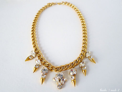 This designer inspired necklace perfectly combines edgy with glam. .  Free tutorial with pictures on how to make a spike necklace in under 60 minutes by jewelrymaking with crystals. How To posted by Erin P. Difficulty: 3/5. Cost: 3/5. Steps: 12