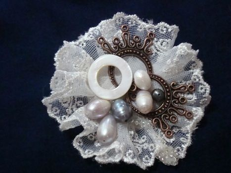 Pearl, Brooch, fabric lace, vintage .  Sew a lace brooch in under 25 minutes by beading with beads, glue gun, and shell. Inspired by vintage & retro. Creation posted by Ena L.  in the Jewelry section Difficulty: Simple. Cost: 3/5.