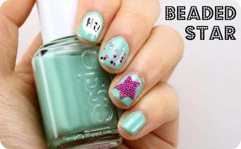 Glam up your nails with a star that really pops! .  Free tutorial with pictures on how to paint patterned nail art in under 30 minutes by applying makeup, nail painting, and nail painting with glitter nail polish, nail polish, and glitter nail polish. Inspired by star print. How To posted by Liquid Jelly.  in the Beauty section Difficulty: 3/5. Cost: Cheap. Steps: 1