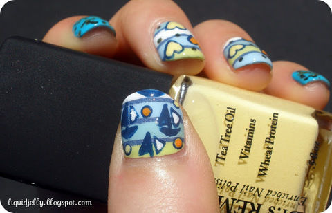 Get ready for summer with this cute sailboat design! .  Free tutorial with pictures on how to paint a themed nail manicure in under 50 minutes by nail painting and nail painting with nail polish, dotting tool, and nail art brush. Inspired by nautical. How To posted by Liquid Jelly.  in the Beauty section Difficulty: 4/5. Cost: 3/5. Steps: 8