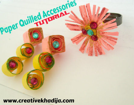 Paper Quilled Accessories Tutorial .  Free tutorial with pictures on how to make a set of paper earrings in under 10 minutes by jewelrymaking, papercrafting, quilling, and quilling with paper, glue, and glitter. How To posted by Creative Khadija.  in the Jewelry section Difficulty: Simple. Cost: Absolutley free. Steps: 3