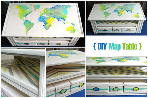 How I painted a world map on my coffee table .  Free tutorial with pictures on how to make a painted table in 9 steps by creating and stencilling with paint, masking tape, and table. How To posted by whiletheysnooze.  in the Home + DIY section Difficulty: Easy. Cost: Cheap.