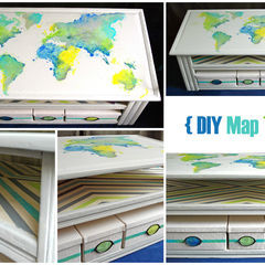 Diy Painted Map Table