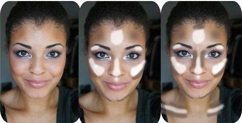 A handy contouring and highlighting chart- for everyday or a more makeup'd look! .  Free tutorial with pictures on how to create a tan or contour makeup in under 20 minutes by applying makeup with foundation makeup. How To posted by Yolanda G.  in the Beauty section Difficulty: Simple. Cost: Cheap. Steps: 3