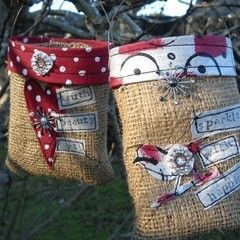 Journaled Burlap Bags