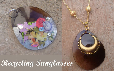 Refashion old sunglasses into pendants .  Free tutorial with pictures on how to make a recycled necklace in under 30 minutes by jewelrymaking with needle, chain, and rhinestones. How To posted by Divya N. Difficulty: Easy. Cost: Absolutley free. Steps: 3