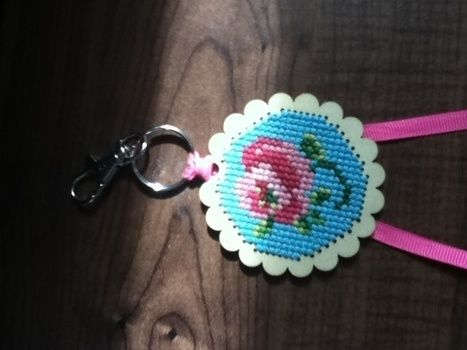 Rose key ring cross stitch .  Make a stitched charm in under 120 minutes by cross stitching and cross stitching with ribbon, embroidery thread, and key ring. Inspired by gifts, vintage & retro, and clothes & accessories. Creation posted by ChristofiKim. Difficulty: Easy. Cost: No cost.