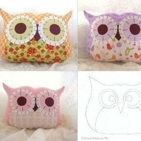 Super cute owl pillow for sunday afternoon (examples coming soon) .  Free tutorial with pictures on how to make a bird plushie in under 60 minutes by sewing with fabric, felt, and stuffing. Inspired by gifts, kawaii, and owls. How To posted by kelly.koopman.  in the Needlework section Difficulty: Easy. Cost: Cheap. Steps: 4