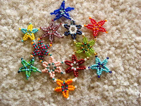 One star, two star, three! .  Bead a beaded shape in under 120 minutes by beading and beading with seed beads, beading needle, and wax. Inspired by stars. Creation posted by zoë.  in the Art section Difficulty: Easy. Cost: No cost.