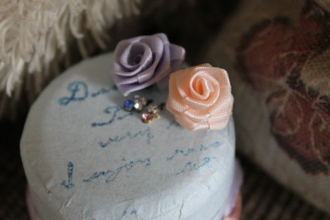 Roses, stamps and ribbons .  Make an embellished box in under 30 minutes by stamping with ribbon, box, and decorations. Inspired by gifts, vintage & retro, and flowers. Creation posted by Sunny.  in the Decorating section Difficulty: Easy. Cost: No cost.