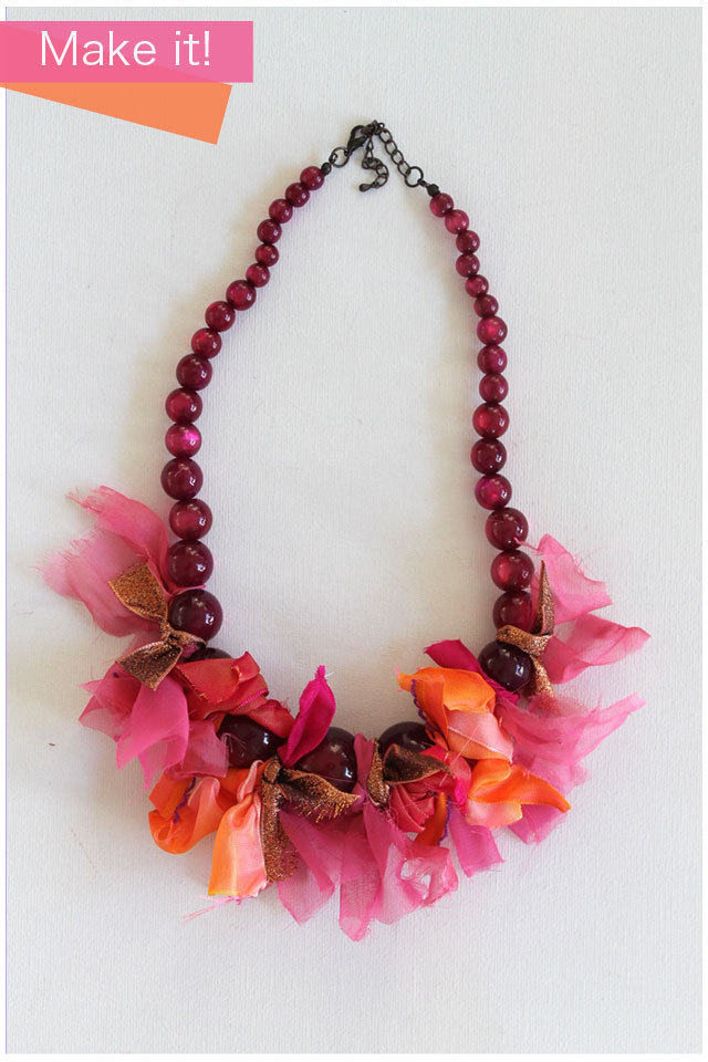 Ribbon tie necklace how to make a ribbon necklace for Ribbon tie necklace jewelry