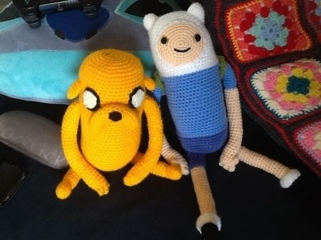 Super cute crochet characters from Adventure Time .  Sew a cartoon plushie by crocheting and amigurumi with scissors, buttons, and crochet hook. Inspired by gifts, kawaii, and adventure time. Creation posted by Kim D.  in the Yarncraft section Difficulty: Simple. Cost: Cheap.