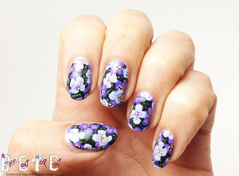 Pretty purple flowers for spring or summer! .  Free tutorial with pictures on how to paint patterned nail art in under 25 minutes by nail painting and nail painting with nail polish. Inspired by floral. How To posted by Kelly O.  in the Beauty section Difficulty: Easy. Cost: 3/5. Steps: 14