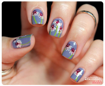 daisy floral nail art · how to paint patterned nail art