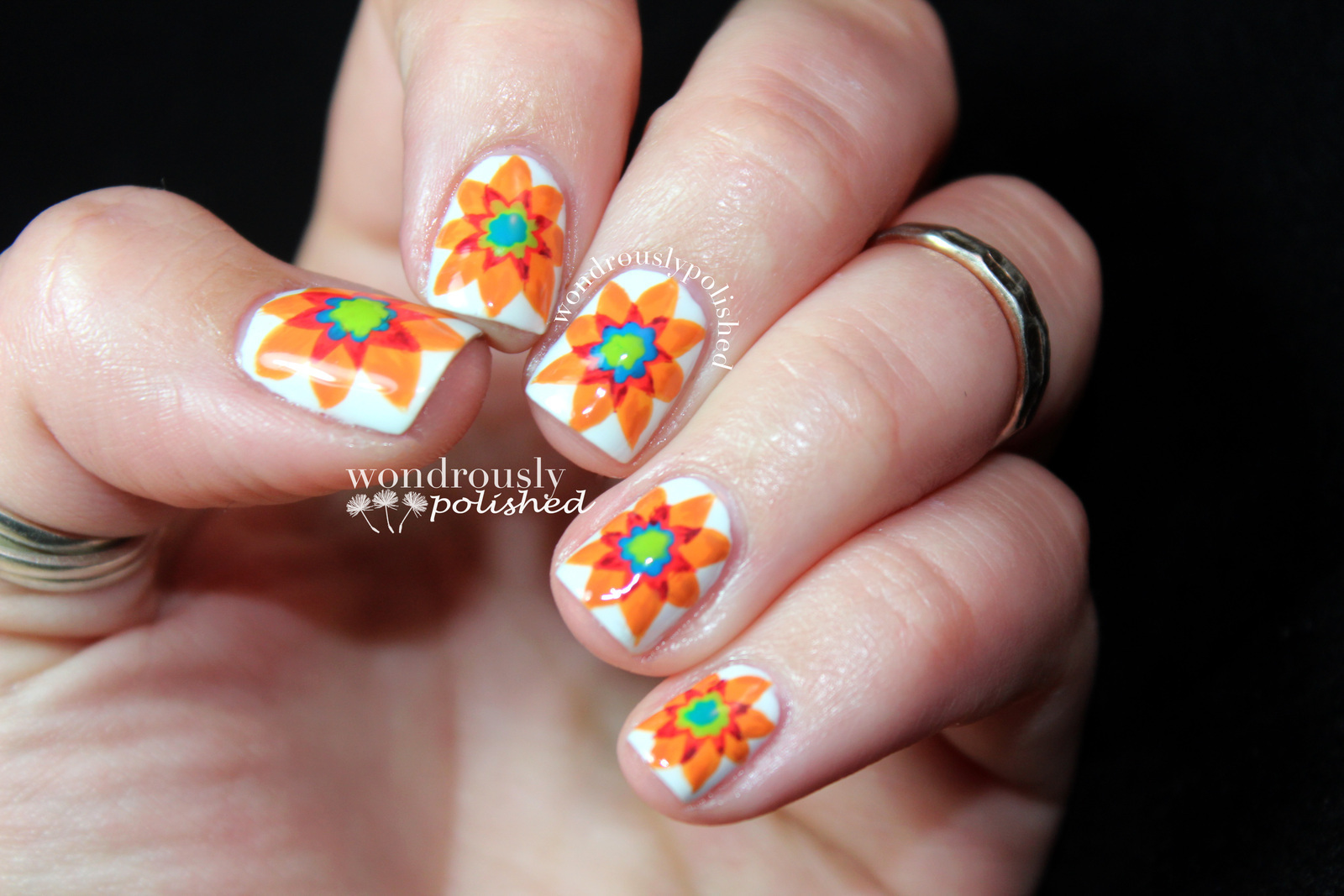 Spanish Majolica Inspired Flower Nail Art How To Paint Patterned