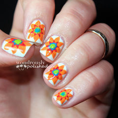 Spanish Majolica Inspired Flower Nail Art