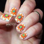 Spanish Majolica Inspired Flower Nail Art