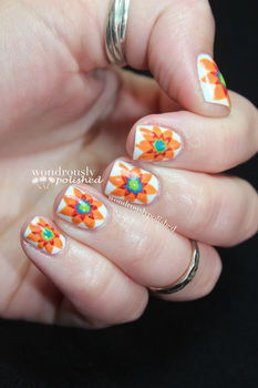 These unique flowers will brighten up your day! .  Free tutorial with pictures on how to paint patterned nail art in under 60 minutes by nail painting and nail painting with paint brush, nail polish, and nail polish. Inspired by floral. How To posted by Lindsey  W. Difficulty: 3/5. Cost: Cheap. Steps: 9