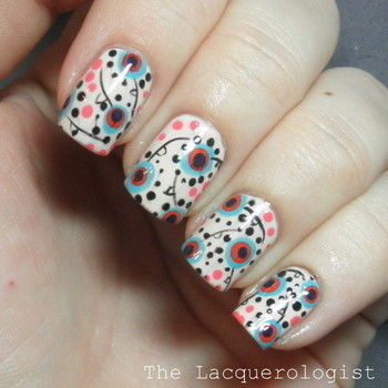 Perfectly funky florals, perfect for any time of year! .  Free tutorial with pictures on how to paint patterned nail art in under 60 minutes by nail painting and nail painting with nail polish, dotting tool, and top coat. Inspired by floral. How To posted by lacquerologist.  in the Beauty section Difficulty: Simple. Cost: Cheap. Steps: 9