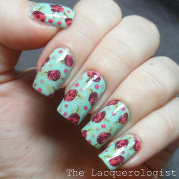 The easiest floral manicure out there! .  Free tutorial with pictures on how to paint patterned nail art in under 30 minutes by nail painting and nail painting with nail polish, dotting tool, and top coat. Inspired by floral and roses. How To posted by lacquerologist.  in the Beauty section Difficulty: Simple. Cost: Cheap. Steps: 6