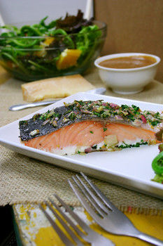 Deliciously roasted and slathered in yummy herbs. .  Free tutorial with pictures on how to cook a salmon dish in under 70 minutes by cooking and baking with salt, olive oil, and lemon. Recipe posted by Emilie B.  in the Recipes section Difficulty: Easy. Cost: 3/5. Steps: 4