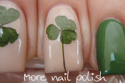 Easy nail art from your garden to your nails .  Free tutorial with pictures on how to paint patterned nail art in under 30 minutes by nail painting and nail painting with nail polish, top coat nail polish, and pressed leaves. Inspired by shamrocks, floral, and clovers. How To posted by More Nail Polish.  in the Beauty section Difficulty: Easy. Cost: Absolutley free. Steps: 3